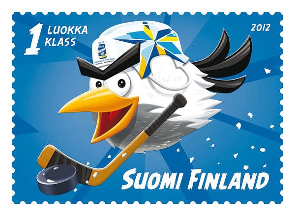 2012 Jääkiekon MM kisat  16656  office HockeyBird luistelee jääkiekon MM kisojen postimerkkiin