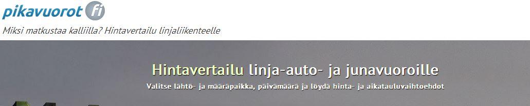 pikavuoro Säästä useita kymppejä lipuissa   Hintavertailu kotimaan busseihin ja juniin